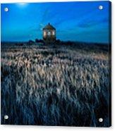 House On The Prairie Under A Full Moon Acrylic Print