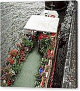 Houseboats In Paris Acrylic Print by Elena Elisseeva