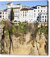 Houses On A Cliff In Ronda Town Acrylic Print