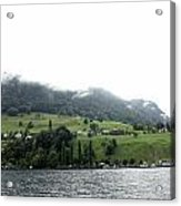 Houses On The Greenery Of The Slope Of A Mountain Next To Lake Lucerne Acrylic Print