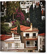 Houses On The Hill Nerja Acrylic Print by Mary Machare