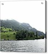 Houses On The Slope Of A Mountain Next To Lake Lucerne Acrylic Print