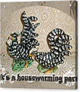 Housewarming Invitation - Black And White Chickens Figurines Acrylic Print