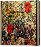 Hummingbird And Roses Acrylic Print