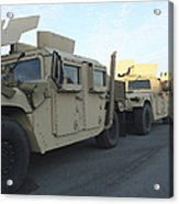 Humvees Sit On The Pier At Morehead Acrylic Print