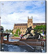 Hyde Park Fountain And St. Mary's Cathedral Acrylic Print