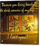 I Love You Night Graffiti Greeting Card Acrylic Print