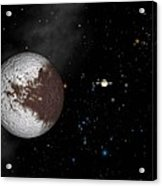 Iapetus And Saturn Acrylic Print