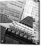 Ibanez Six String Black And White Acrylic Print