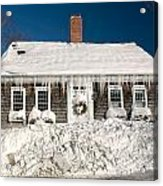 Icicles Hang From The Roof Of This Home In Barnstable On Cape Co Acrylic Print