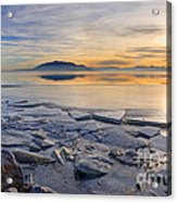 Icy Sunset On Utah Lake Acrylic Print