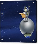 Illustration Of A Cartoon Astronaut Acrylic Print