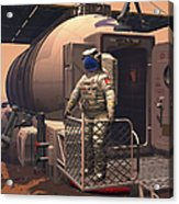 Illustration Of An Astronaut Leaving Acrylic Print by Walter Myers