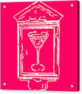 In Case Of Emergency - Drink Martini - Pink Acrylic Print by Wingsdomain Art and Photography