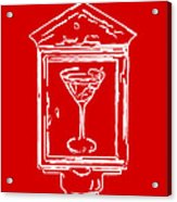 In Case Of Emergency - Drink Martini - Red Acrylic Print by Wingsdomain Art and Photography