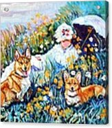 In The Field With Corgis After Monet Acrylic Print