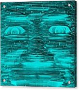 In Your Face In Neagtive Turquois Acrylic Print