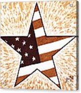 Independence Day Star Usa Flag Coffee Painting Acrylic Print by Georgeta  Blanaru