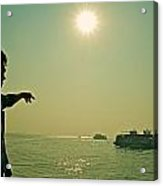 Indian Guide On The Sea Acrylic Print