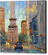 Indy Monument At Twilight Acrylic Print by Donna Shortt