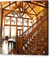 Interior Of Large Wooden Lodge Acrylic Print