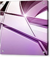 Intersecting Three-dimensional Lines In Purple Acrylic Print by Ralf Hiemisch