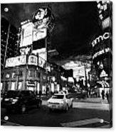 Intersection Of Yonge And Dundas At Night Yonge-dundas Square Toronto Ontario Canada Acrylic Print
