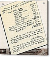 Invoice Of A Sale Of Black Slaves Acrylic Print