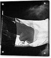 Irish Tricolour Flag With Frayed Edges Flying In Republic Of Ireland Acrylic Print by Joe Fox