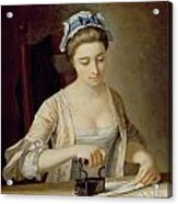 Ironing Acrylic Print by Henry Robert Morland