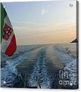 Italian Flag On Boat Off Amalfi Acrylic Print