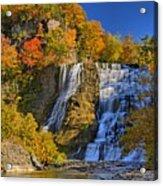 Ithaca Falls In Autumn Acrylic Print by Matt Champlin