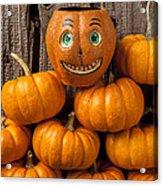 Jack-o-lantern On Stack Of Pumpkins Acrylic Print