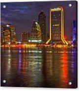 Jacksonville At Night Acrylic Print by Debra and Dave Vanderlaan