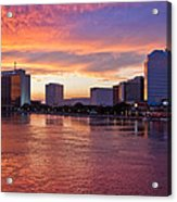 Jacksonville Skyline At Dusk Acrylic Print by Debra and Dave Vanderlaan