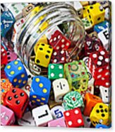 Jar Spilling Dice Acrylic Print by Garry Gay