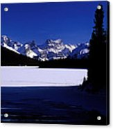 Jasper - Maligne Lake In Winter Acrylic Print