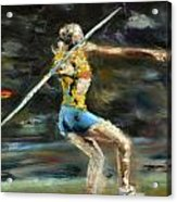 Javelin Thrower Acrylic Print by Paul Mitchell