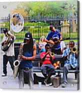 Jazz Band At Jackson Square Acrylic Print by Bill Cannon