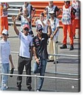 Jean-eric Vergne Lewis Hamilton And Nico Rosberg Acrylic Print