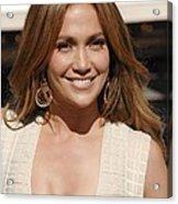 Jennifer Lopez At The Press Conference Acrylic Print