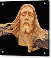 Jesus Christ Wooden Sculpture -  Four Acrylic Print