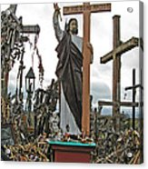 Jesus On The Hill Of Crosses. Lithuania Acrylic Print