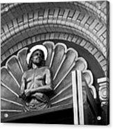 Jesus  Sculpture Above Cathedral Door Lintel Acrylic Print