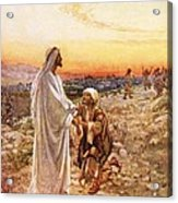 Jesus Withe The One Leper Who Returned To Give Thanks Acrylic Print