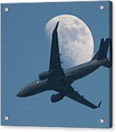 Jet In Front Of Moon Acrylic Print
