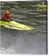 Jetboat In A Race At Grants Pass Boatnik With Text Acrylic Print