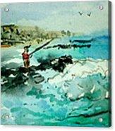 Jetty Fishing Acrylic Print
