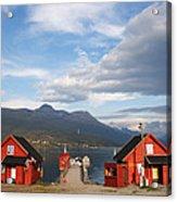 Jetty In A Norwegian Fjord Acrylic Print