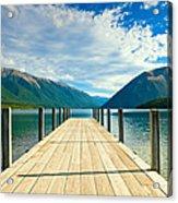 Jetty Of A Beautiful Lake  Acrylic Print
